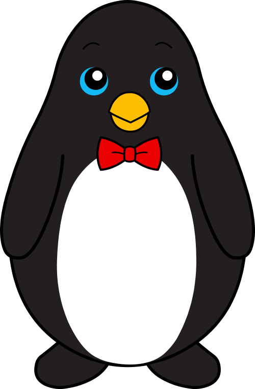 small resolution of cute black penguin with red bow tie free clip art