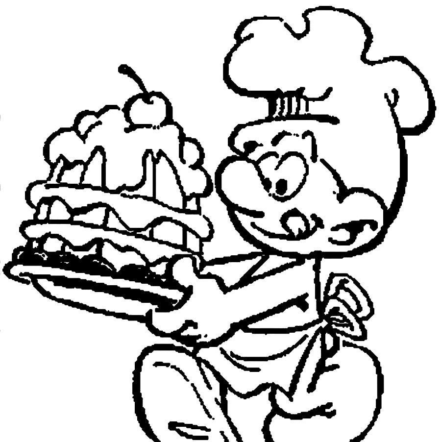 Funny: Download Chef Smurf Making Delicious Cake Coloring