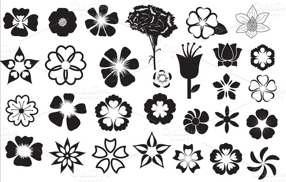 free flower silhouette vector