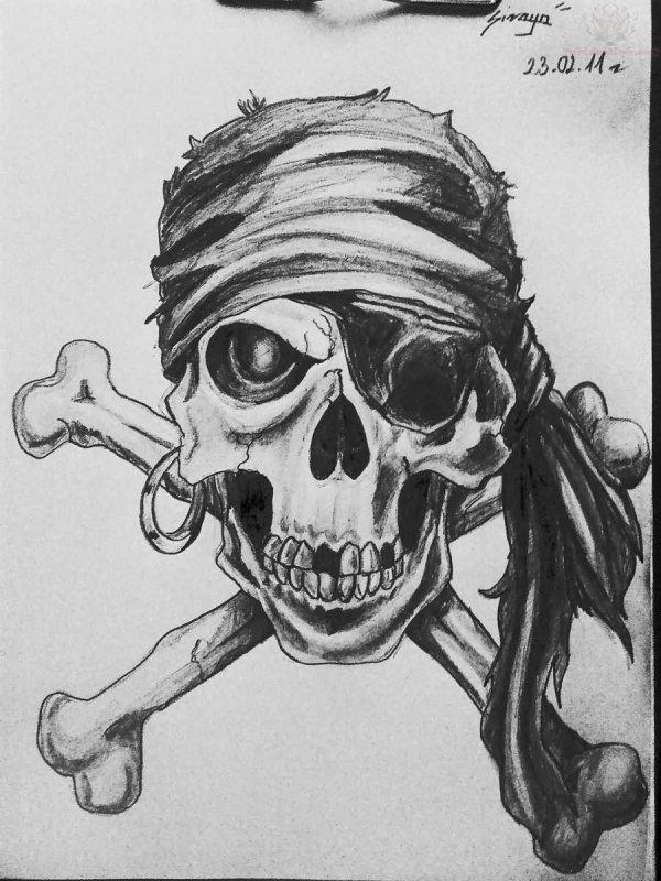 Pirate Skull Tattoo Drawings