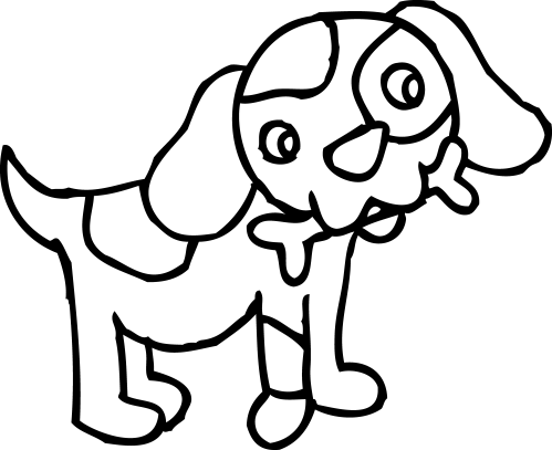small resolution of coloring page of dog with bone free clip art
