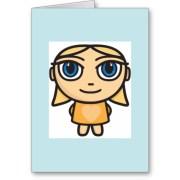 girl cartoon character greeting