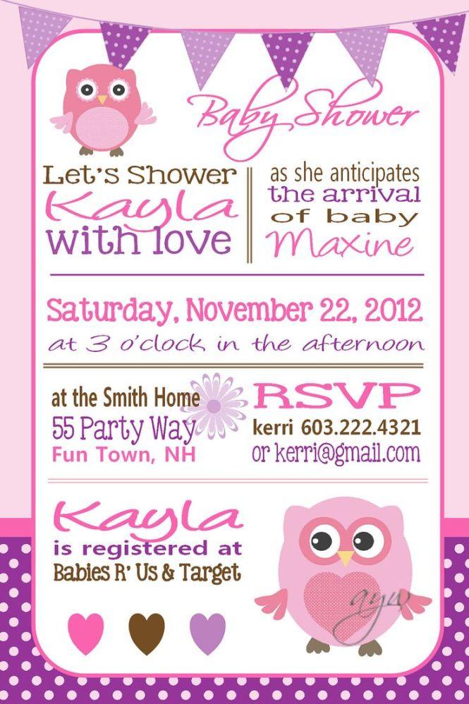 Owl Baby Shower Invitation Bunting Pink Green Purple