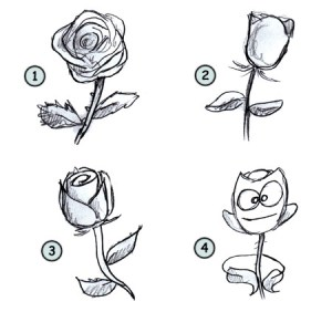 rose draw cartoon drawing flower step cartoons drawings easy roses funny flowers clipart library simple clip