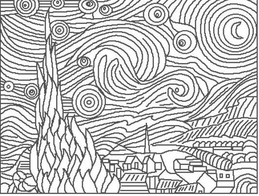 Van Gogh Starry Night Coloring Page Clip Art Library