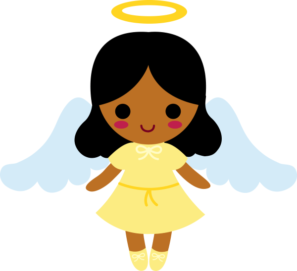 Little Angel With Black Hair - Free Clip Art