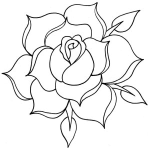 rose drawing line traditional clipart outline tattoo clip library