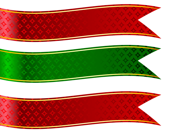 Green And Red Banners Set Clipart