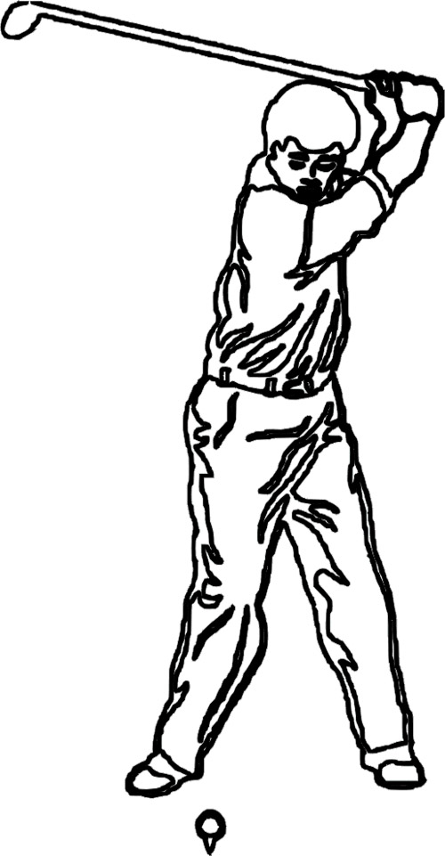 Figure Coloring Pages : Golf Swing Tiger Wood Coloring