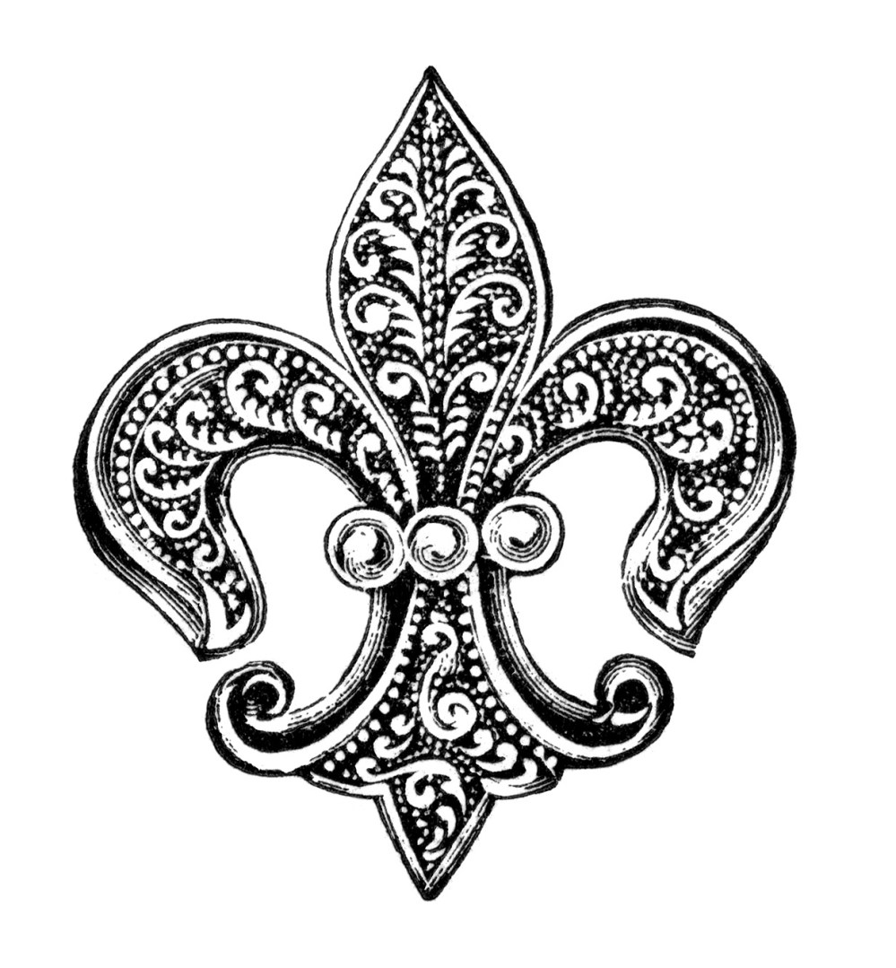 medium resolution of free vintage image fleur de lis pin with pearls clip art old