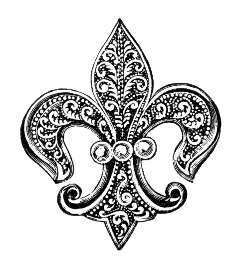 small resolution of free vintage image fleur de lis pin with pearls clip art old