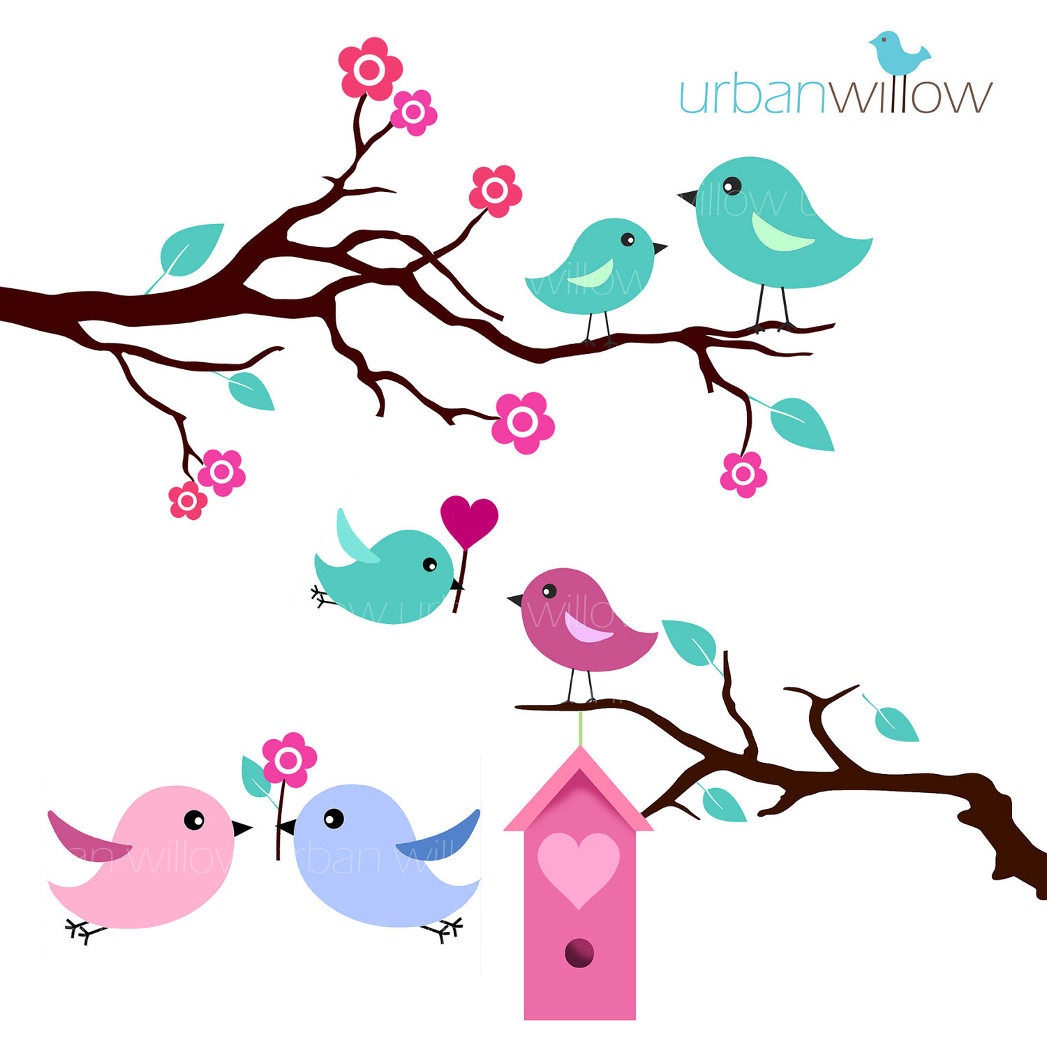 hight resolution of mint love birds clip art set clipart library free clipart images