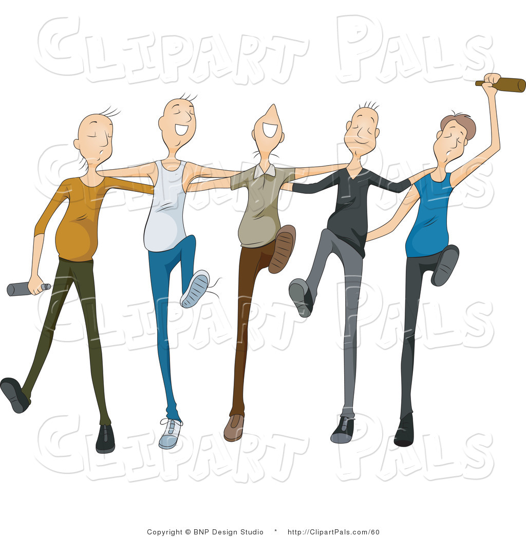 hight resolution of pal clipart of a group of drunk young men drinking and dancing in
