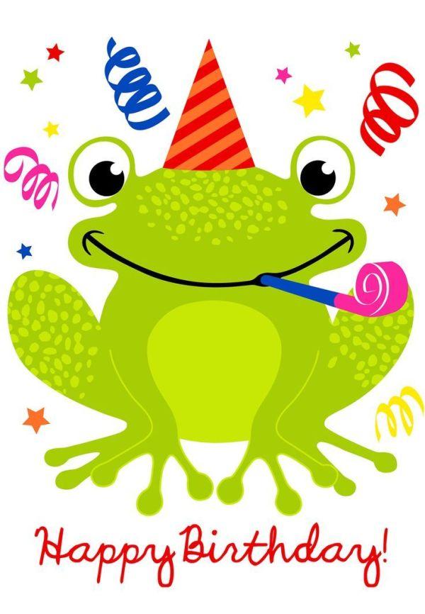 cute happy birthday frog