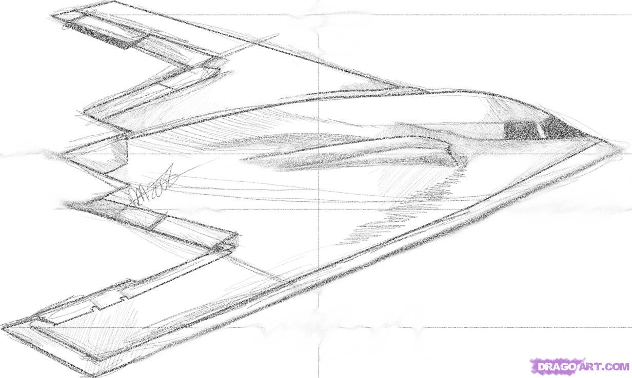 How to Draw a Stealth Bomber, Step by Step, Airplanes