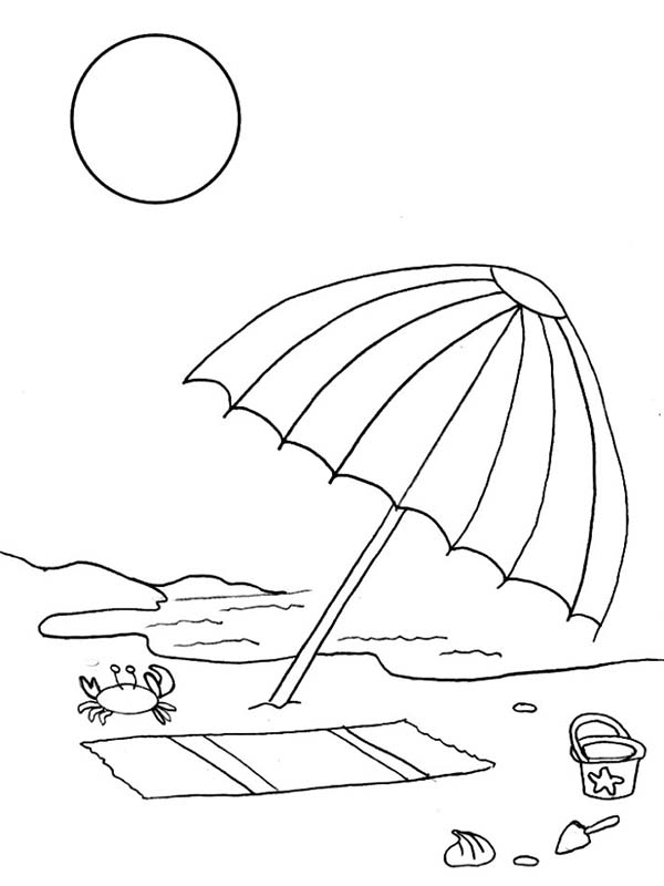 Free Beach Umbrella Coloring Page, Download Free Clip Art
