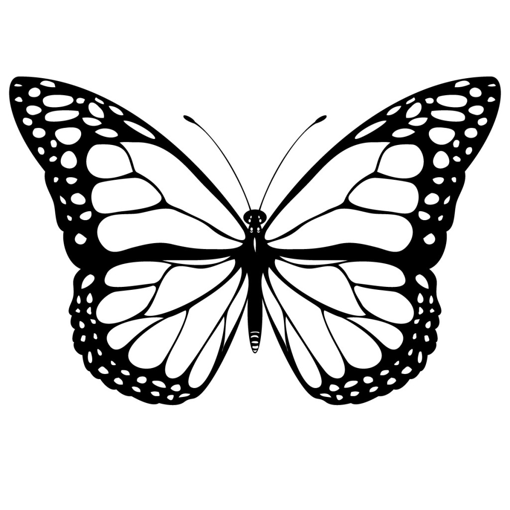 hight resolution of black and white coloring page of monarch butterfly yooall