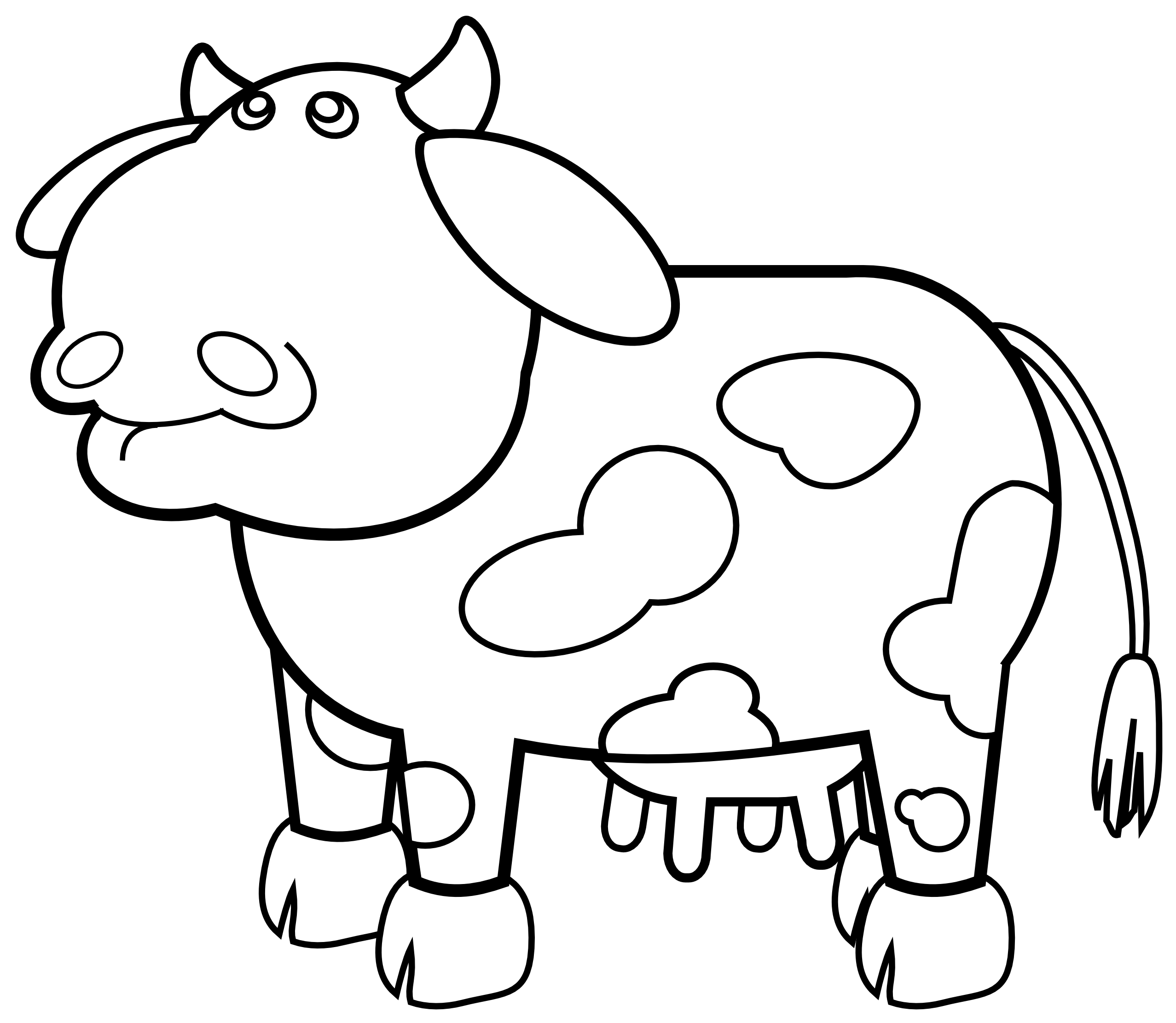 Cow Outline Black White Line Art Scalable Vector Graphics Svg