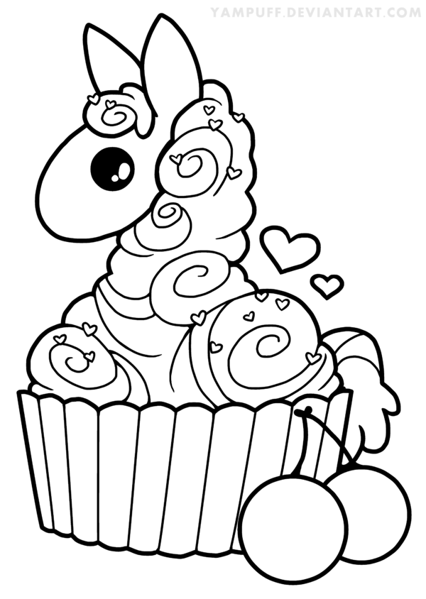 Cupcake Llama Lineart by YamPuff on Clipart library