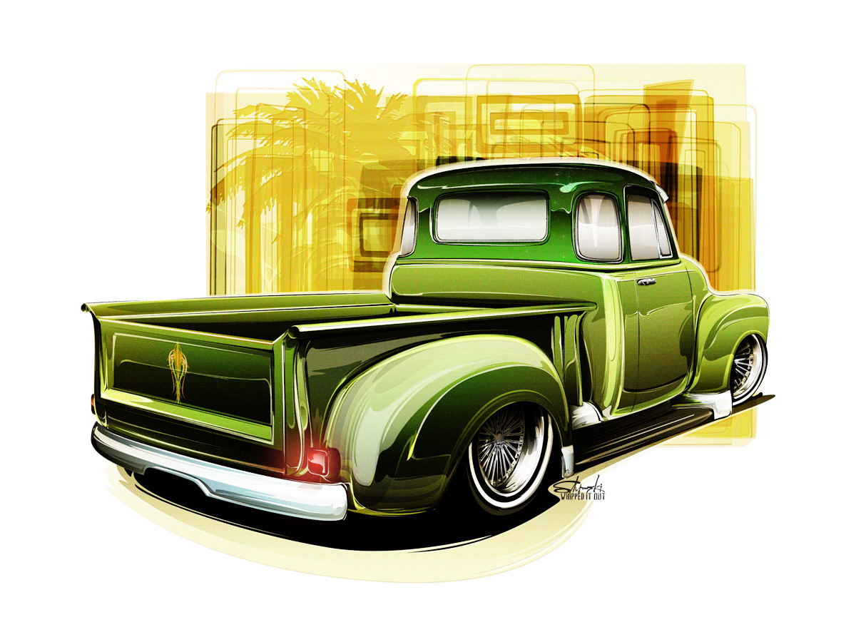 hight resolution of style drawing hot rods