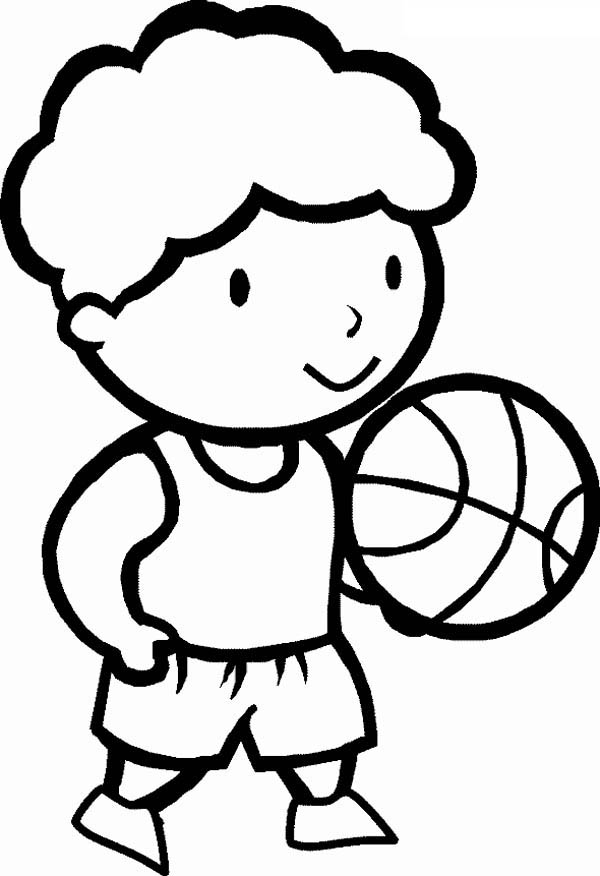 A Cute Little on His First Basketball Game Coloring Page