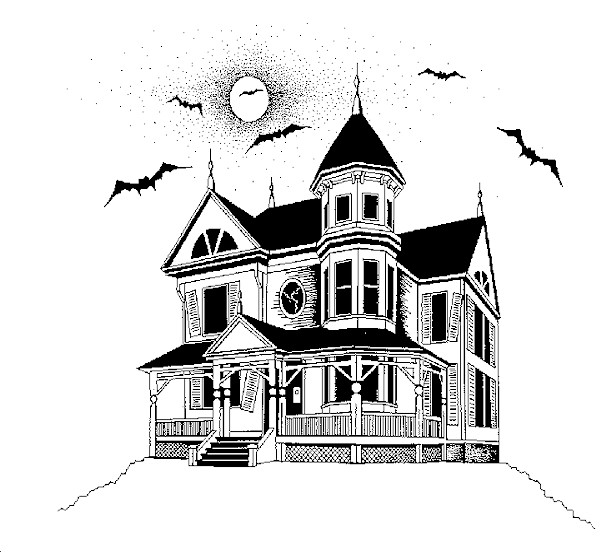 Creepy Haunted House Drawings Clip Art Library