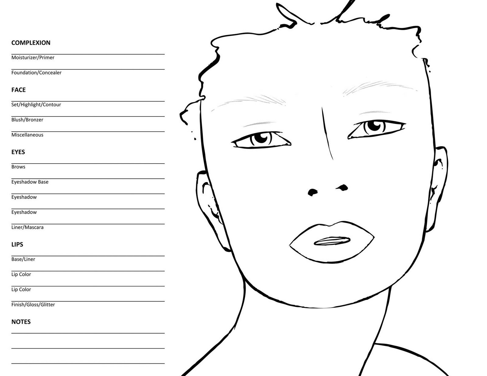 hight resolution of 10 blank face chart templates male face charts and female face