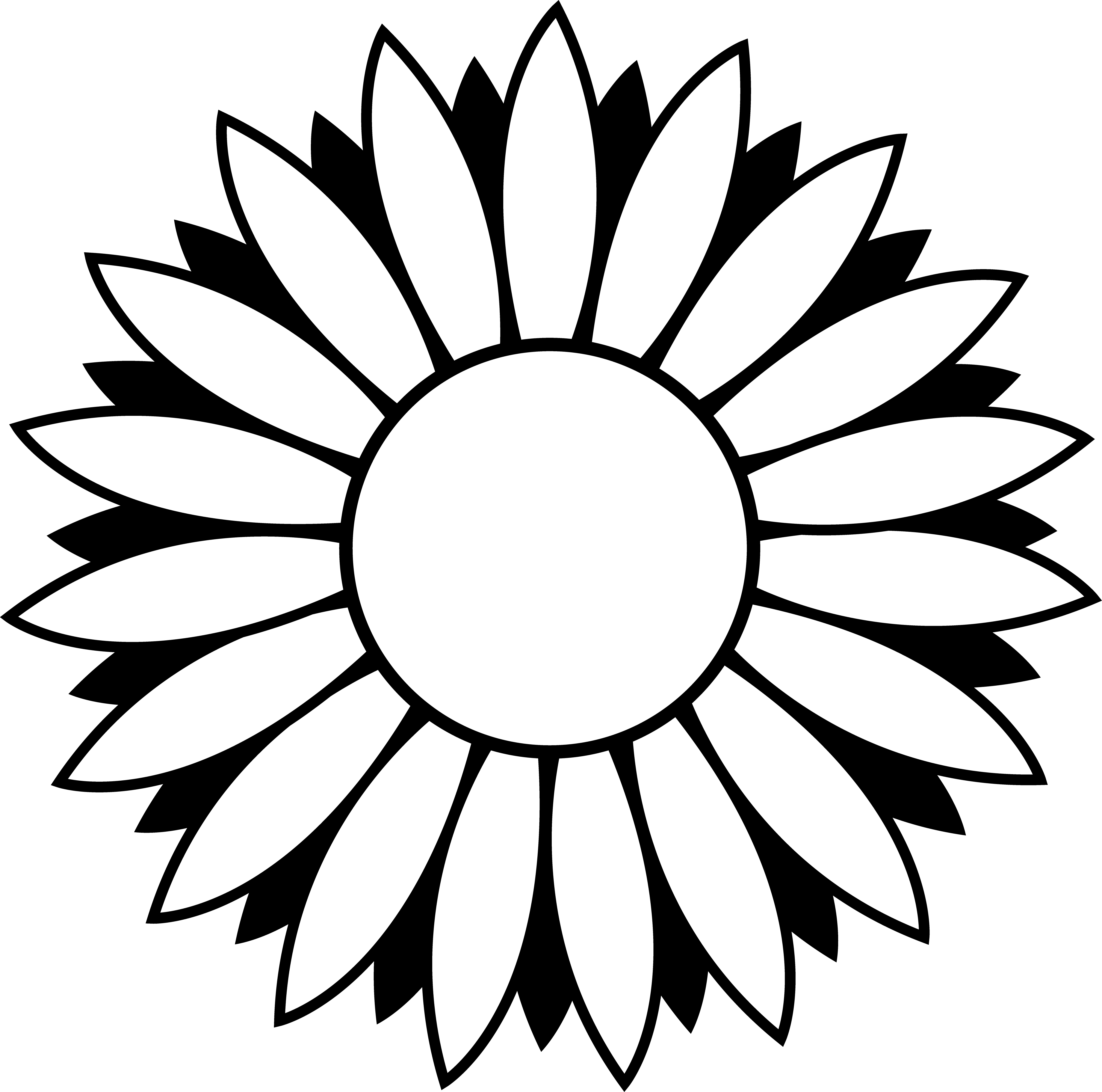 Free Black And White Flower Outline Download Free Clip