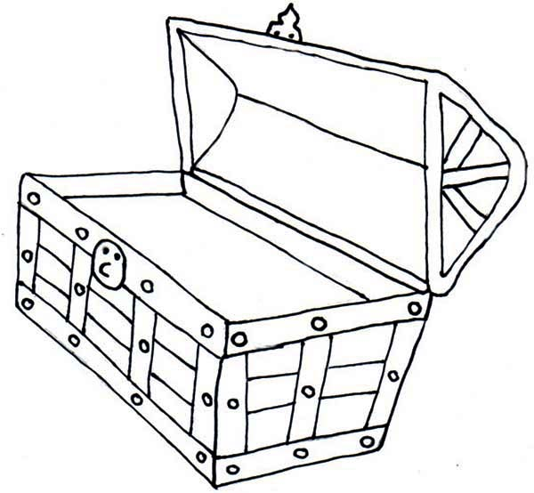 Free Black And White Outline Of A Treasure Chest, Download