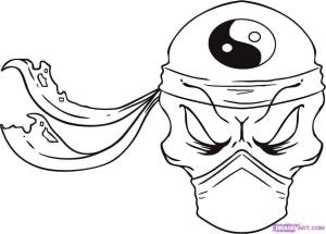 draw skull ninja easy coloring drawings cool skulls drawing step pages awesome printable fire clipart clip dragoart skeleton microscope beginners