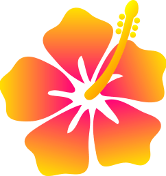 pink and yellow hibiscus flower free clip art [ 4524 x 4776 Pixel ]