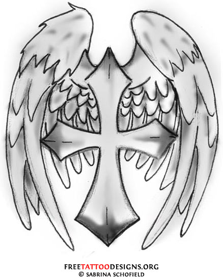 Cross With Angel Wings Drawing : cross, angel, wings, drawing, Cross, Tattoo, Drawings, Wings, Library