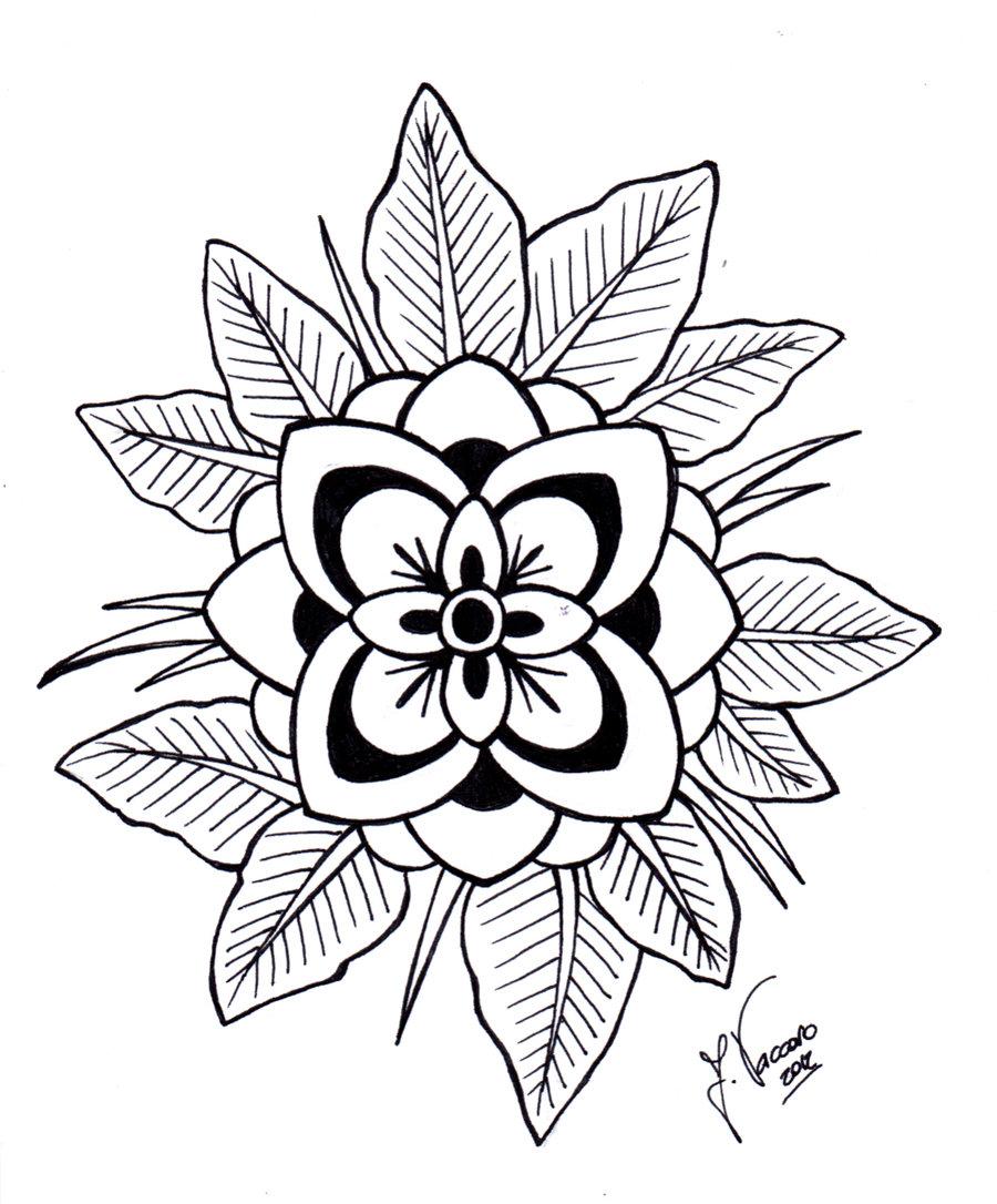 Free Line Art Flower Design, Download Free Clip Art, Free