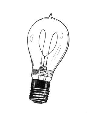 bulb drawing drawings clipart bulbs edison clip lights illustration lightbulb halogen library line way tattoo