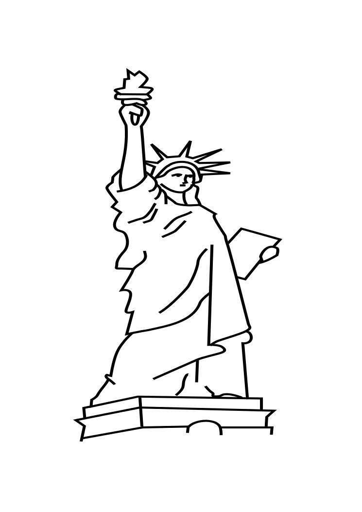 Free Statue Of Liberty Drawing Outline, Download Free Clip