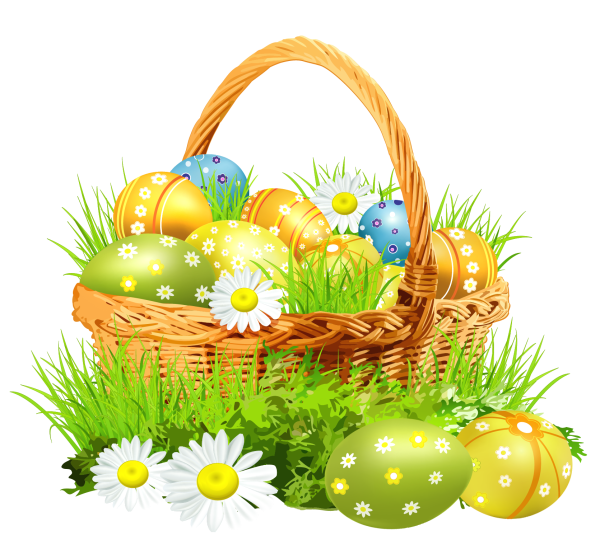 easter basket with eggsand daisies