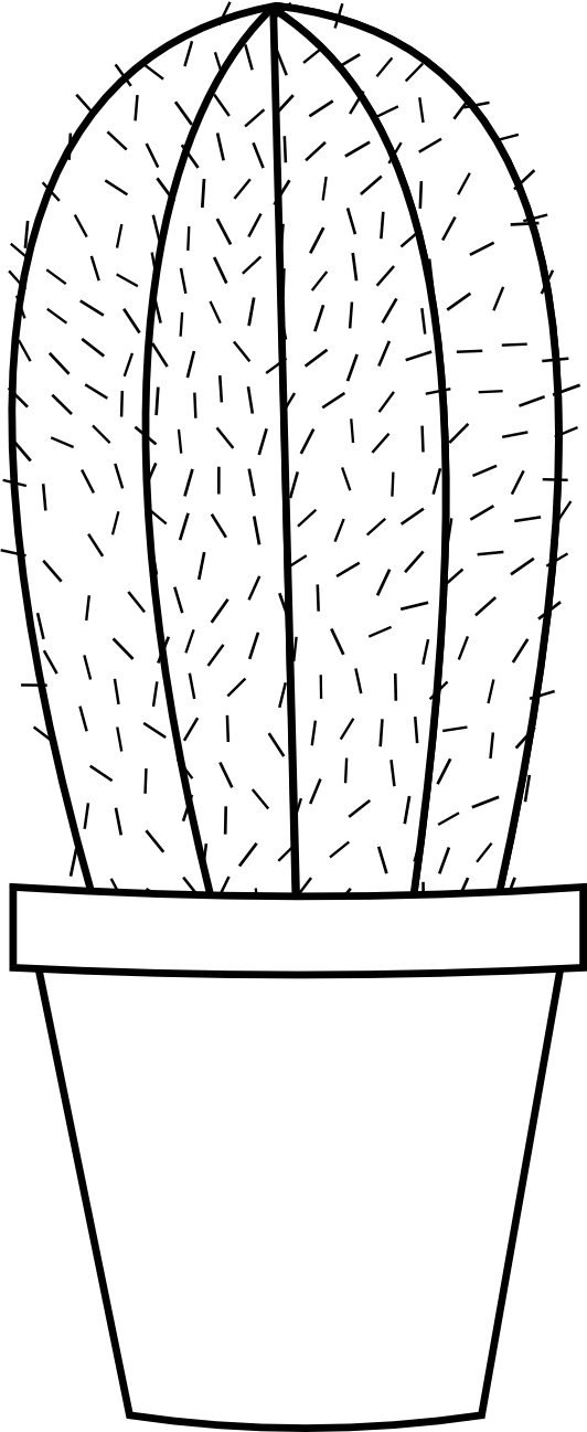 Cactus 16 Black White Line Art Flower Scalable Vector