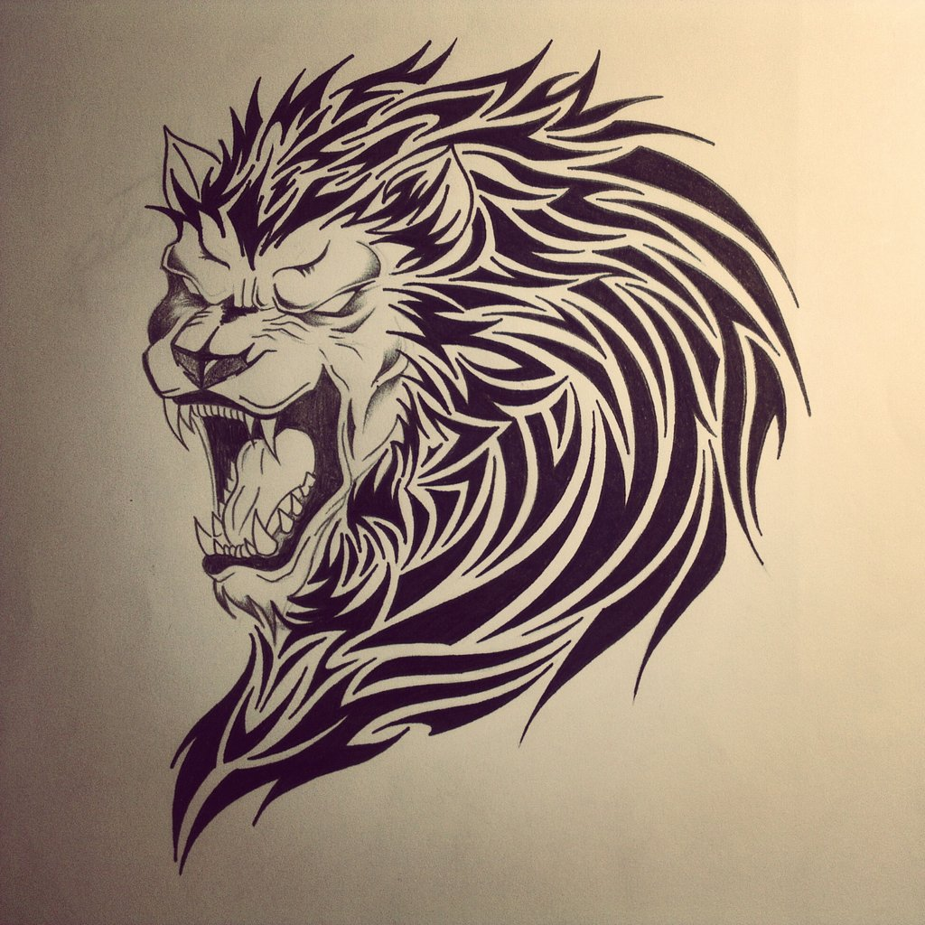 Lion Tribal Tattoo Drawing