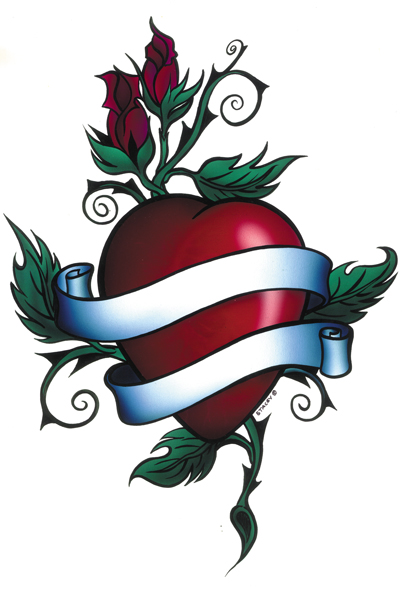 Heart Banner Tattoo : heart, banner, tattoo, Heart, Banner, Tattoo, Designs,, Download, Clipart, Library