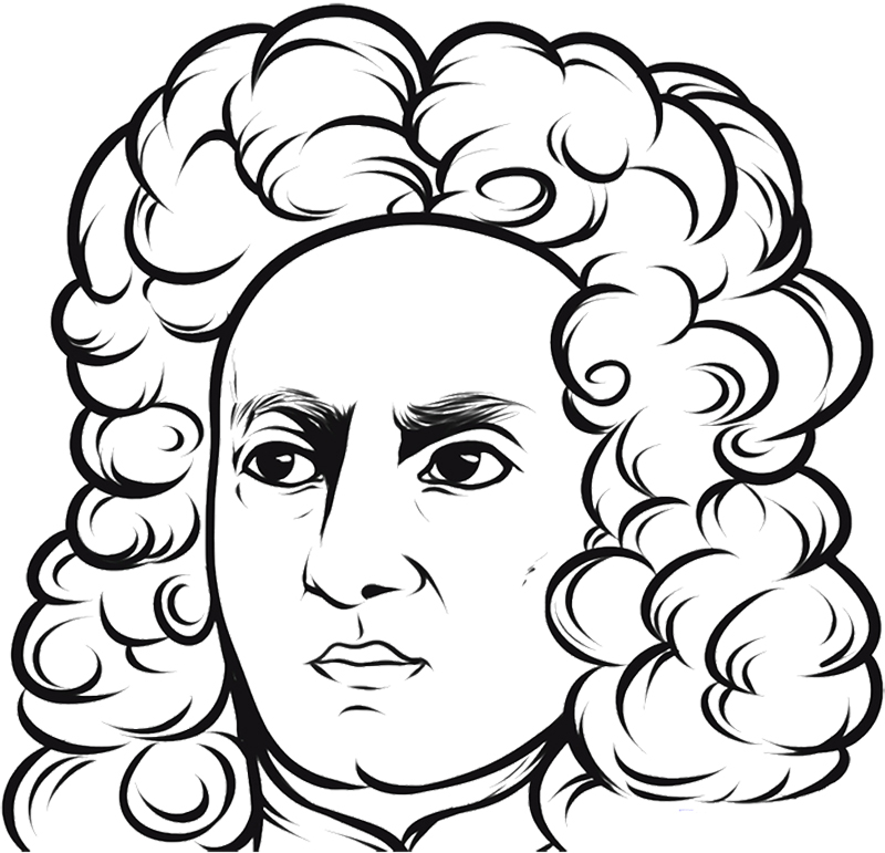 Figure Coloring Pages : Good Looking Face Isaac Newton