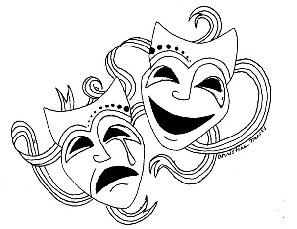 Comedy and Tragedy Masks Drawing