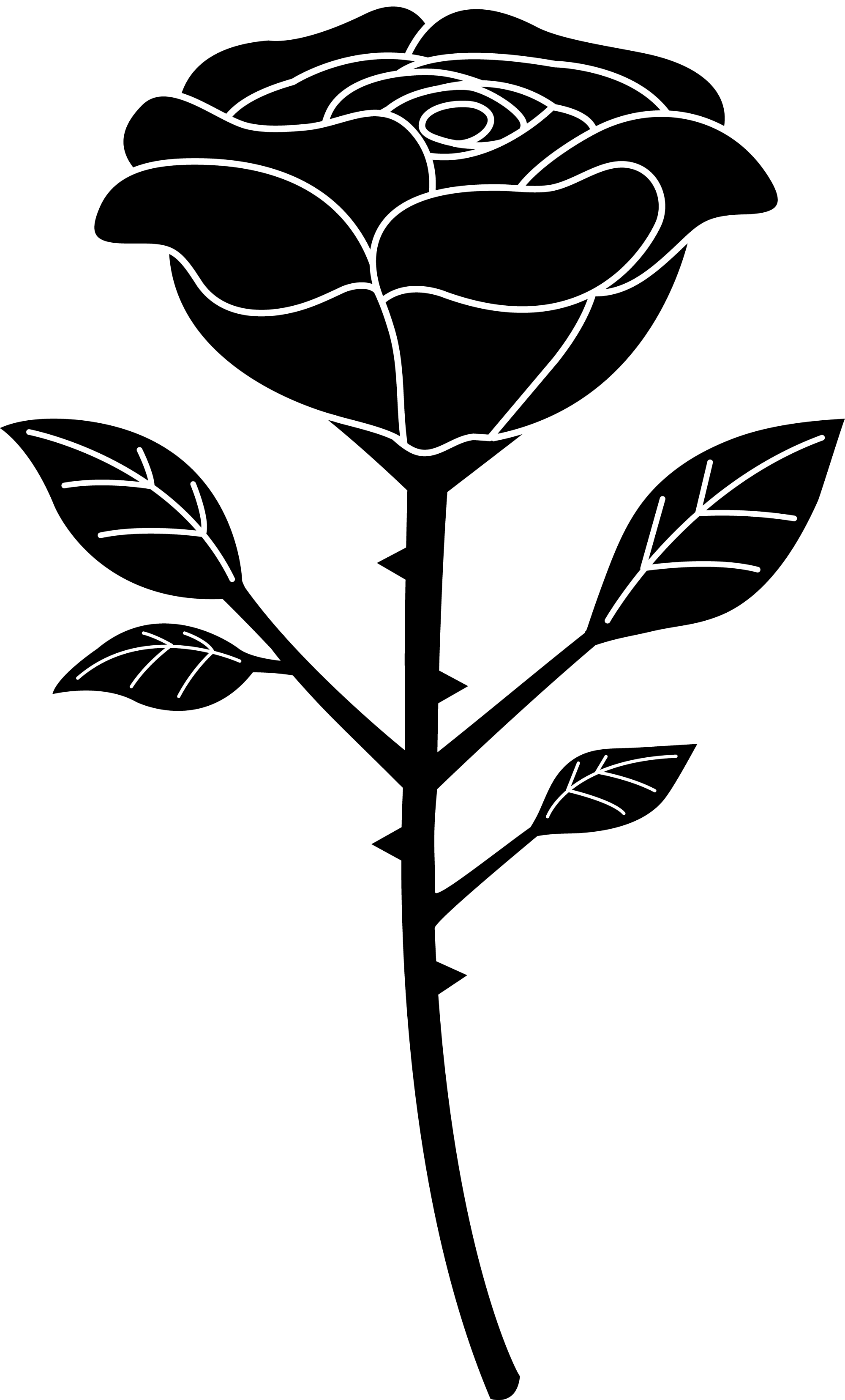 hight resolution of black silhouette of a single black rose free clip art
