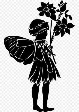 fairy silhouette simple clipart clip fairies menschen blumenmaedchen library sitting wandspruch decal flower transparent