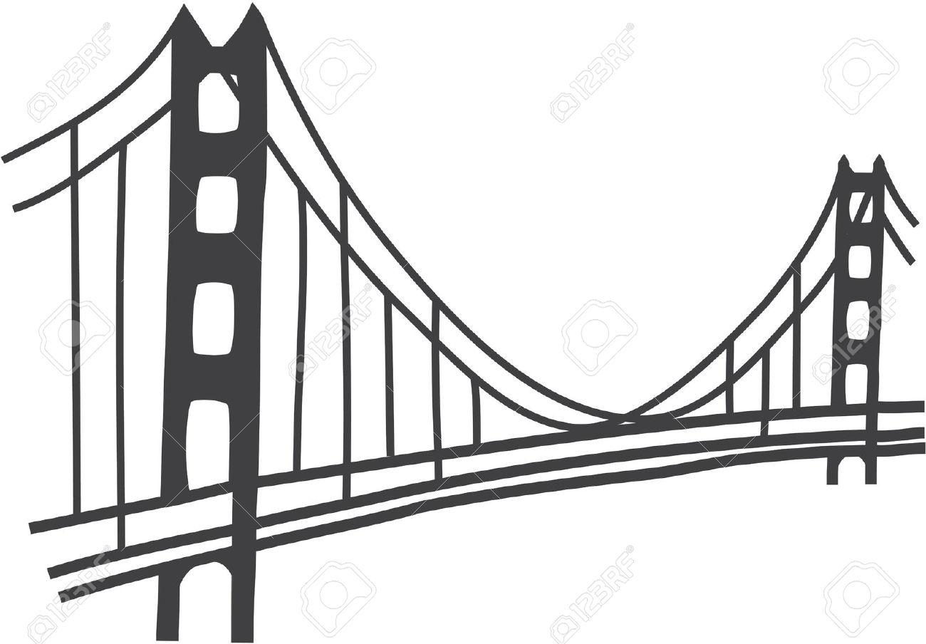 hight resolution of simple golden gate bridge clipart