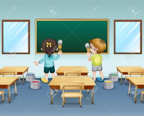 Students Clean Classroom Clip Art