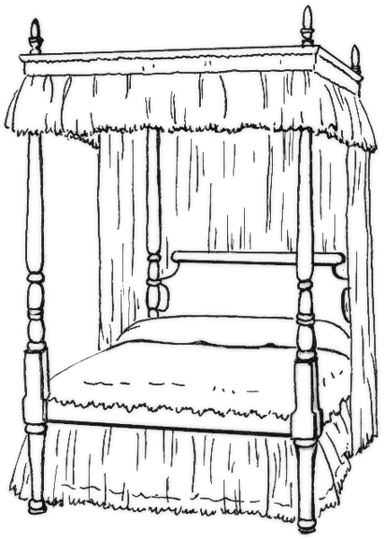 Bed Clipart Black And White : clipart, black, white, Four-poster, Library