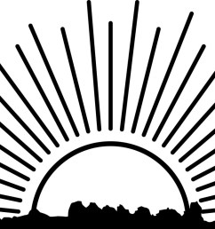 rising sun clipart black and white [ 1500 x 815 Pixel ]