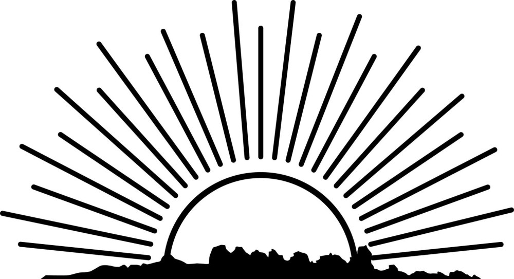 medium resolution of rising sun clipart black and white