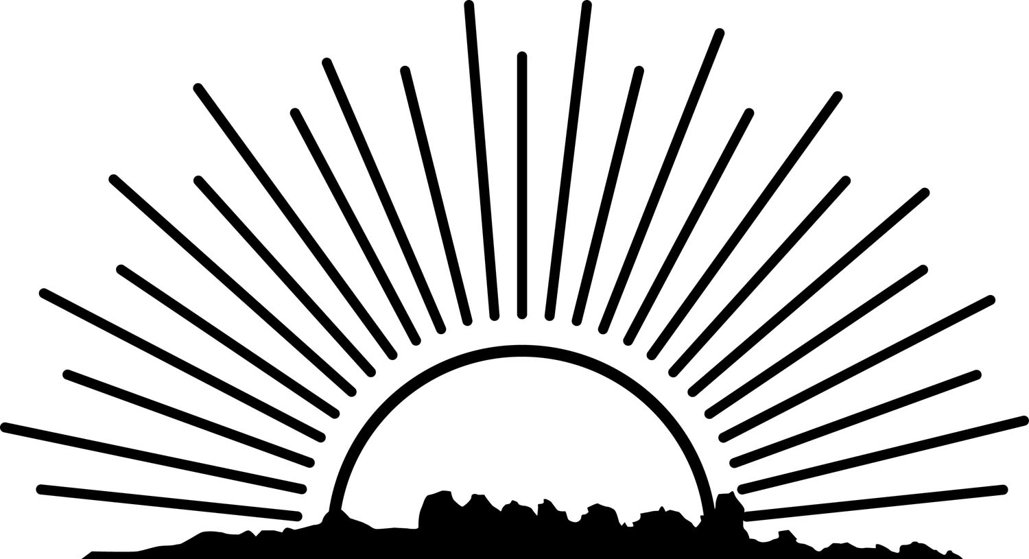 hight resolution of rising sun clipart black and white