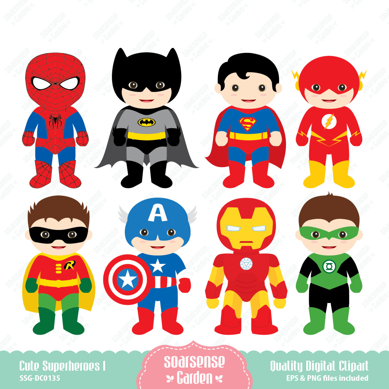 hight resolution of cute superhero cliparts